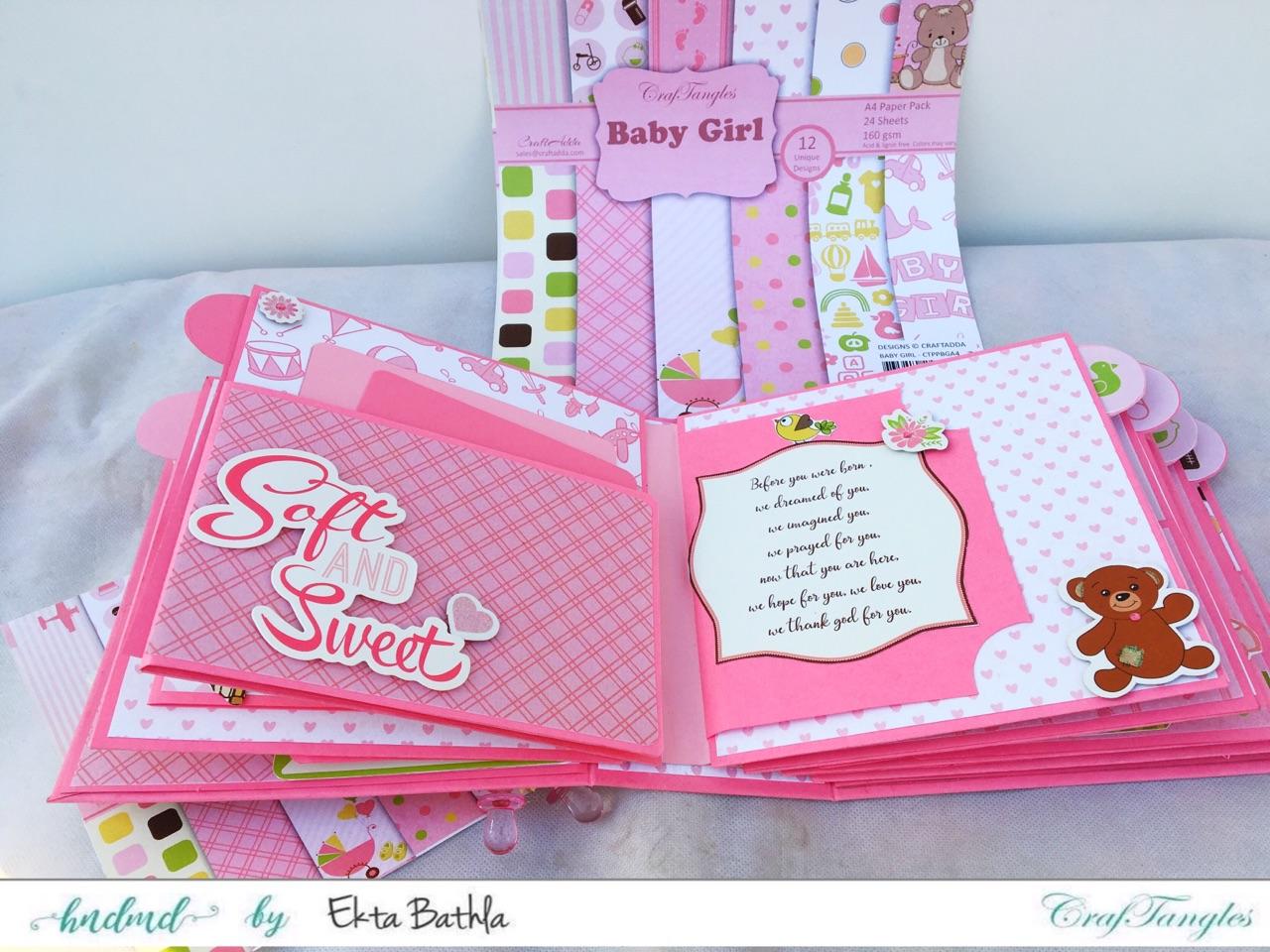 Baby Girl mini album showcasing Baby Girl Elements Pack by CrafTangles 4