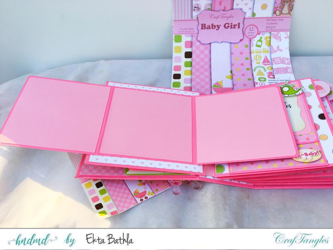 Baby Girl mini album showcasing Baby Girl Elements Pack by CrafTangles 6