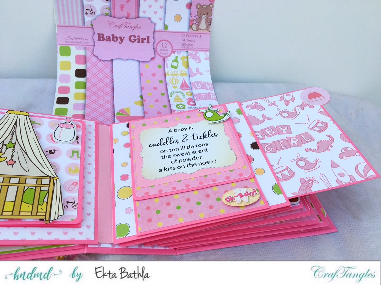 Baby Girl mini album showcasing Baby Girl Elements Pack by CrafTangles 7