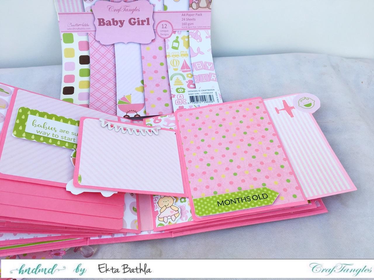 Baby Girl mini album showcasing Baby Girl Elements Pack by CrafTangles 8
