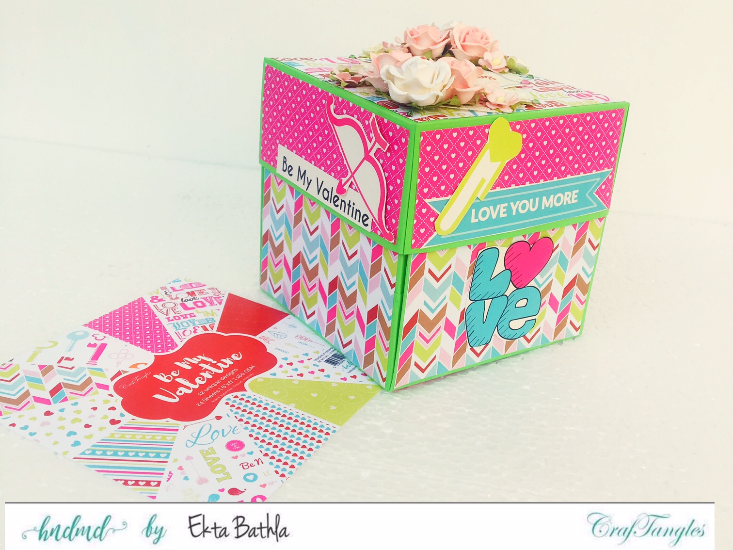 Love themed explosion box using CrafTangles Be My Valentine paper and element packs 1
