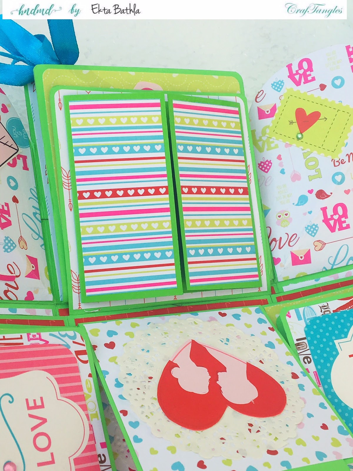 Love themed explosion box using CrafTangles Be My Valentine paper and element packs 8