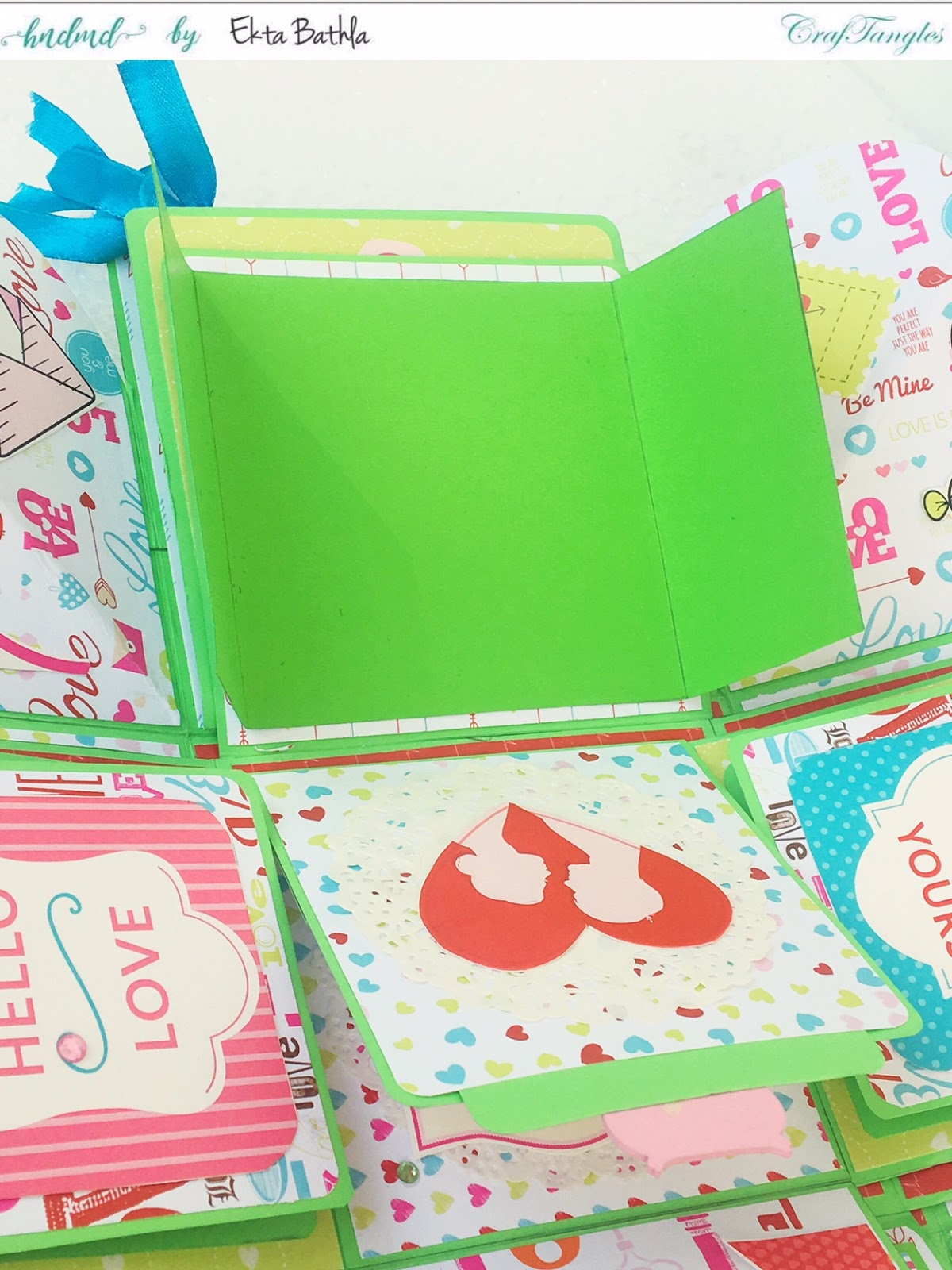 Love themed explosion box using CrafTangles Be My Valentine paper and element packs 7