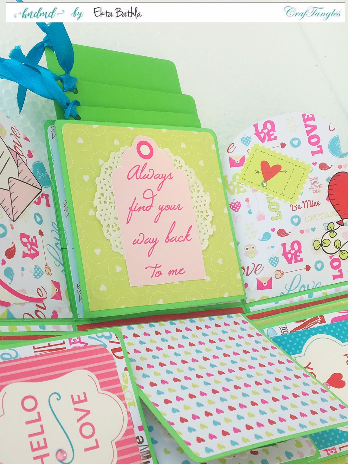 Love themed explosion box using CrafTangles Be My Valentine paper and element packs 6