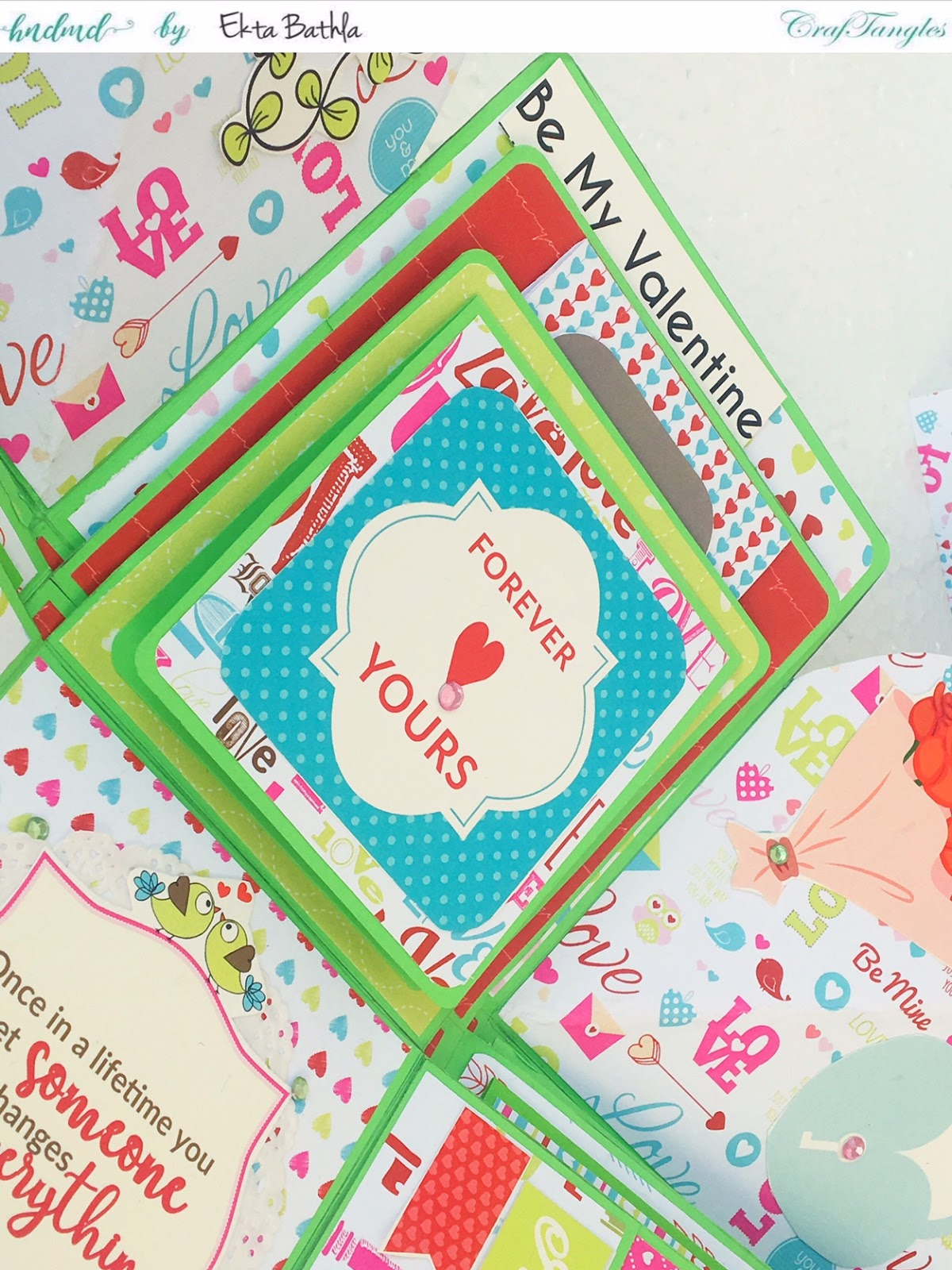 Love themed explosion box using CrafTangles Be My Valentine paper and element packs 5