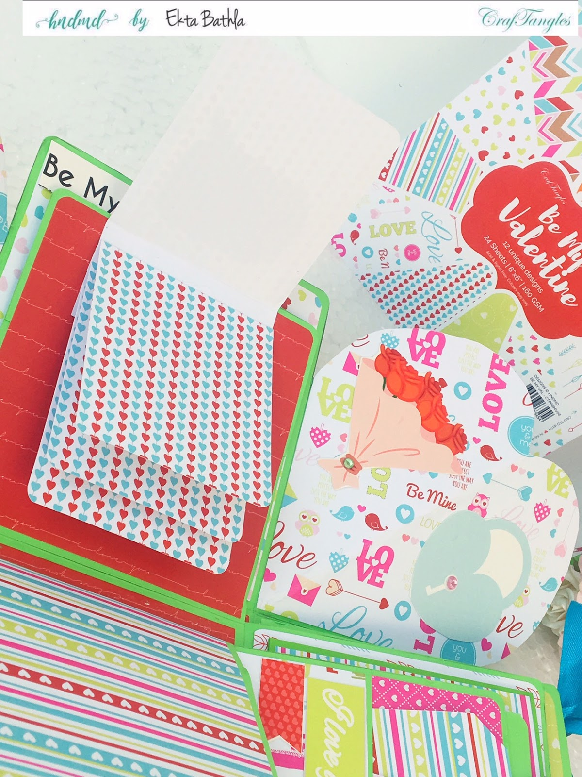 Love themed explosion box using CrafTangles Be My Valentine paper and element packs 2