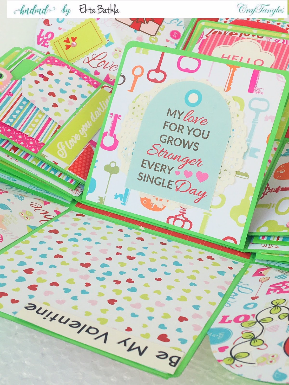 Love themed explosion box using CrafTangles Be My Valentine paper and element packs 17