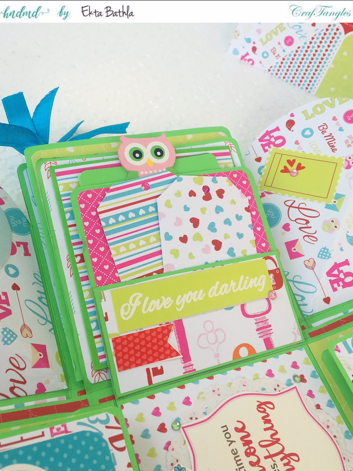 Love themed explosion box using CrafTangles Be My Valentine paper and element packs 18