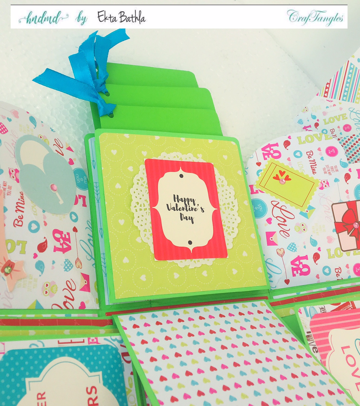 Love themed explosion box using CrafTangles Be My Valentine paper and element packs 20