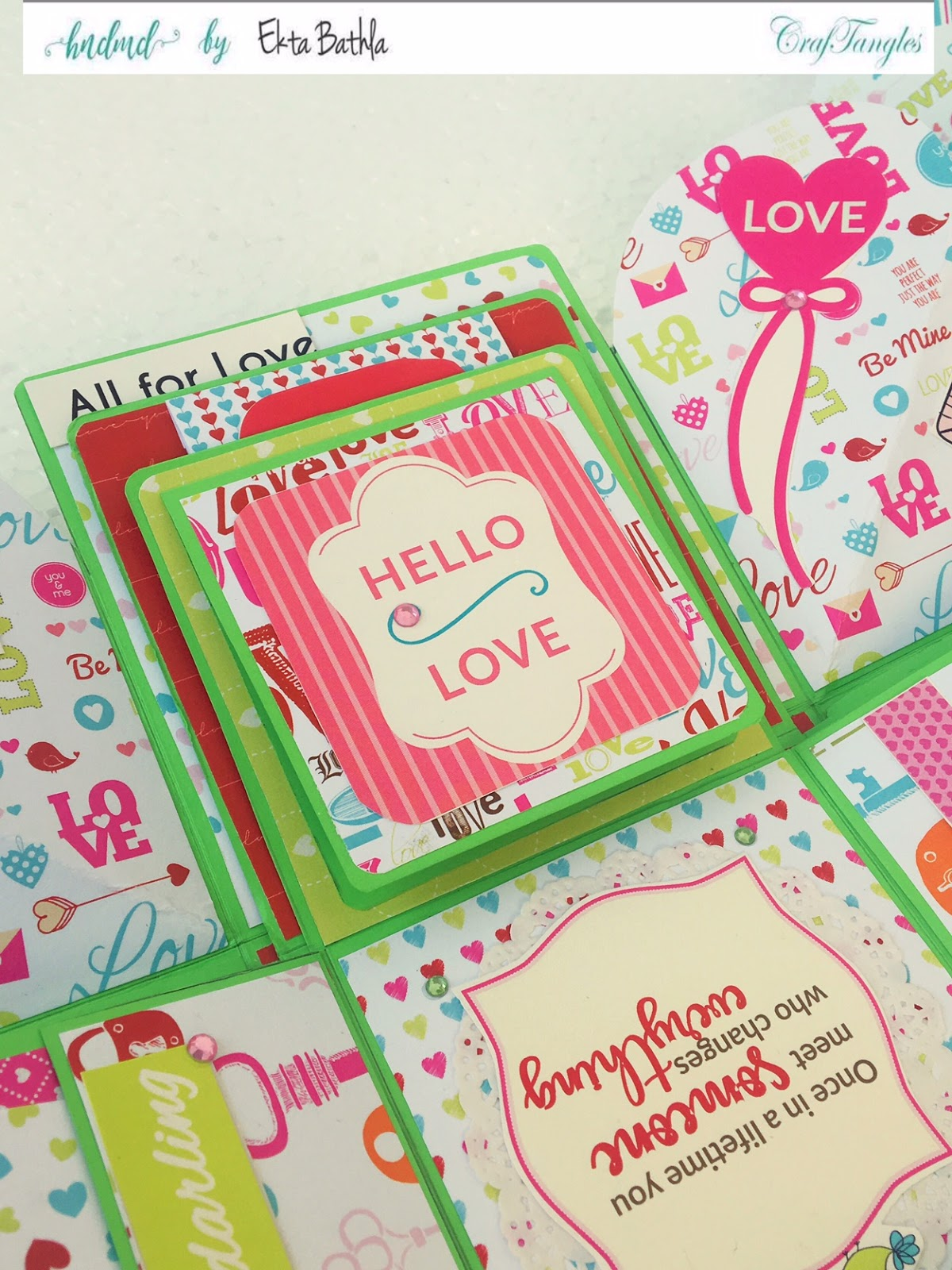 Love themed explosion box using CrafTangles Be My Valentine paper and element packs 21