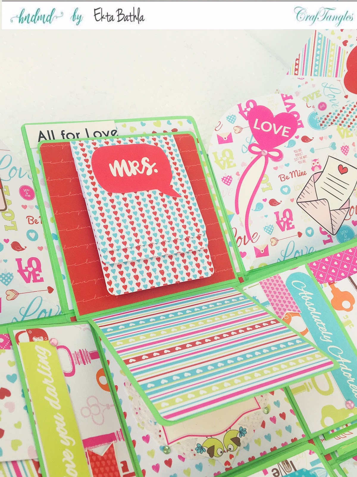 Love themed explosion box using CrafTangles Be My Valentine paper and element packs 22