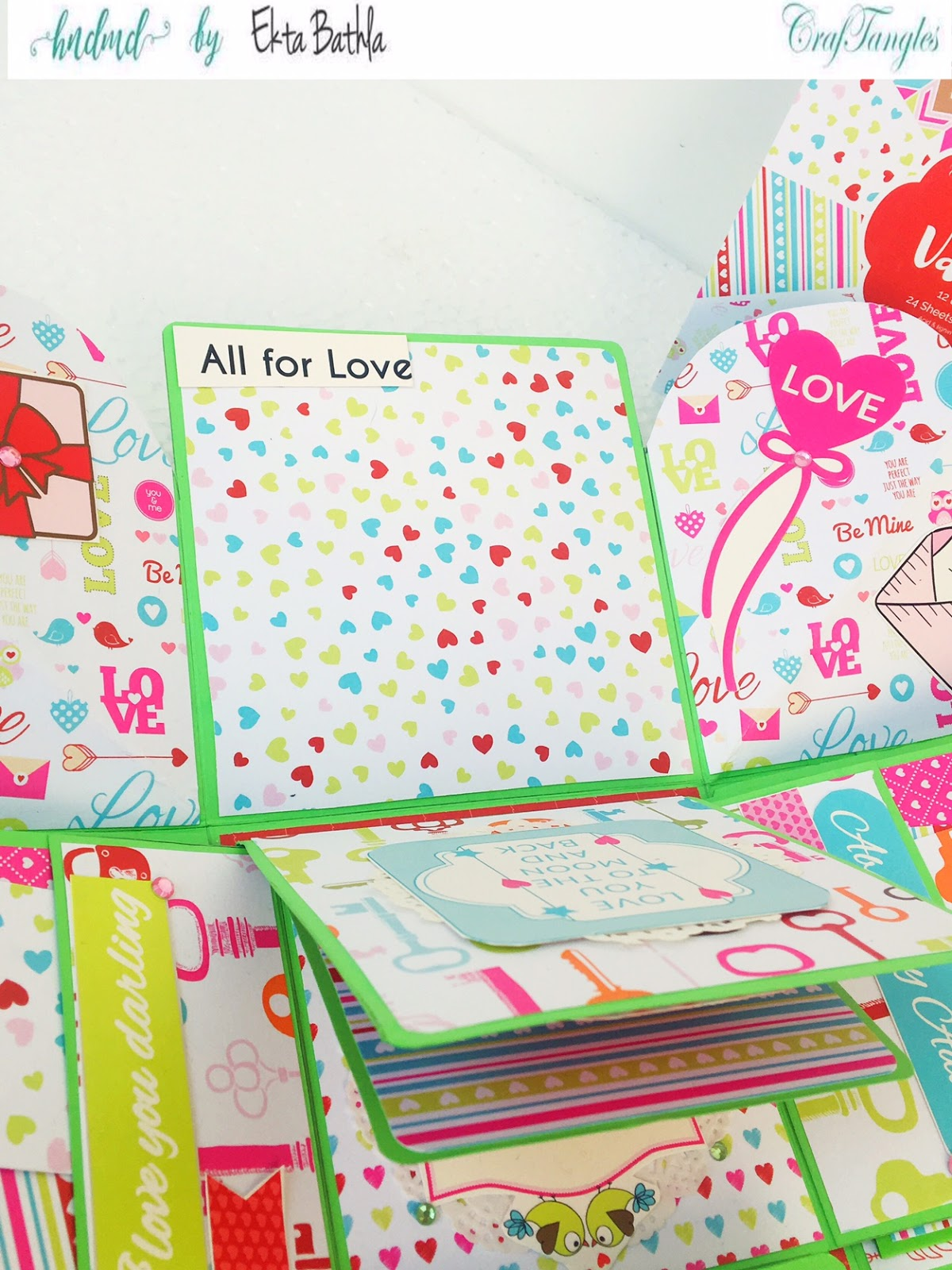 Love themed explosion box using CrafTangles Be My Valentine paper and element packs 23