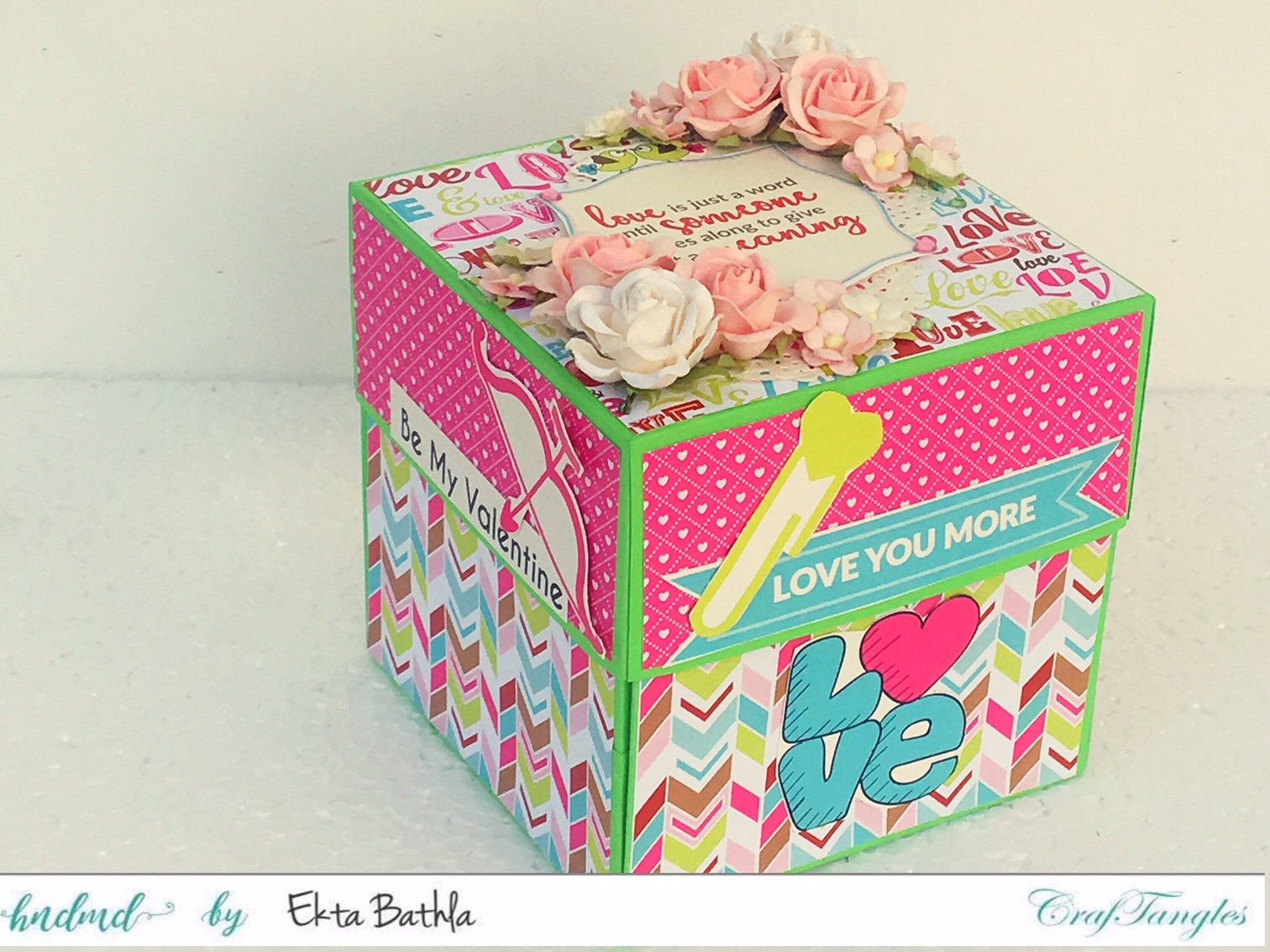Love themed explosion box using CrafTangles Be My Valentine paper and element packs 13