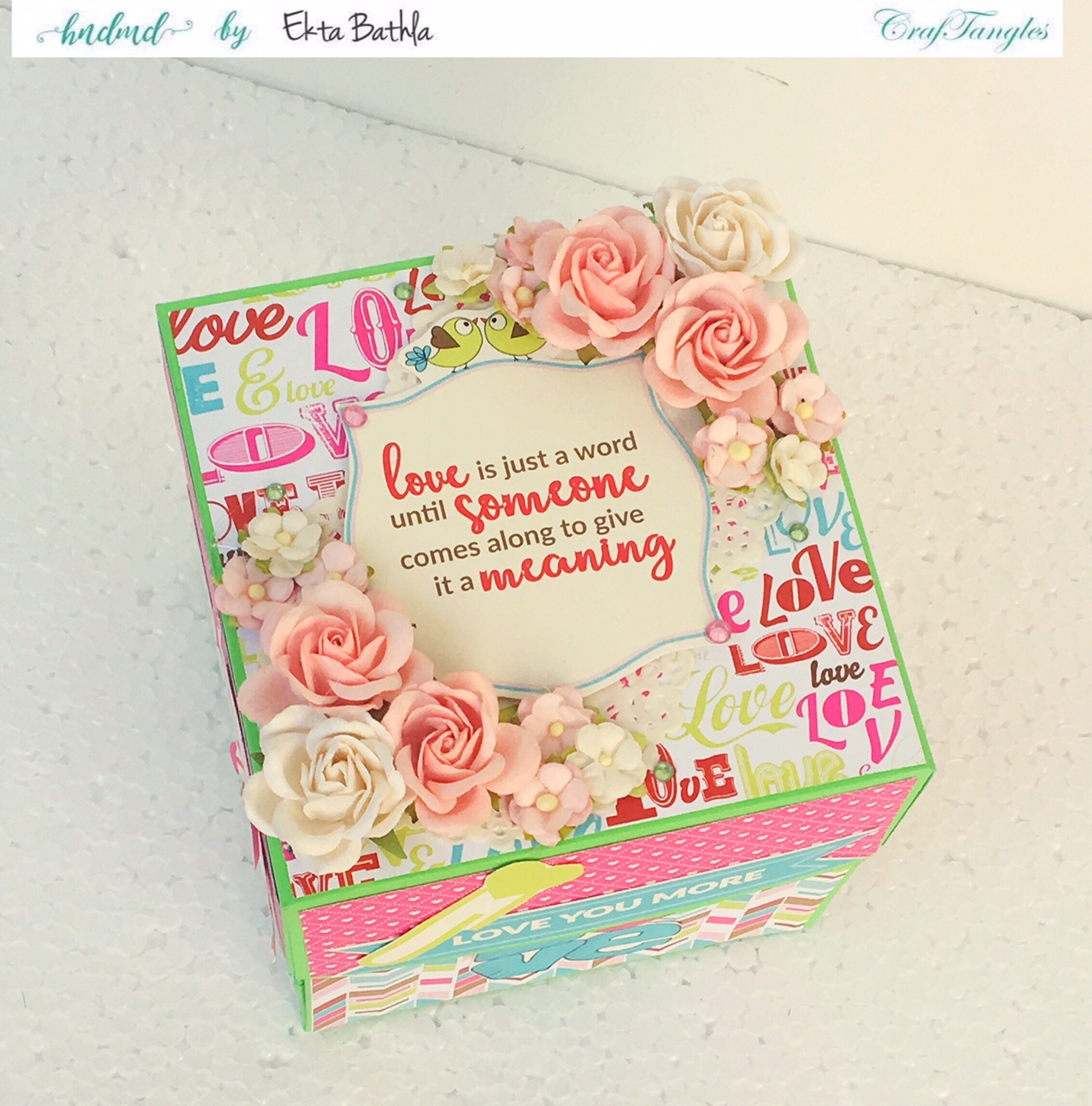 Love themed explosion box using CrafTangles Be My Valentine paper and element packs 14