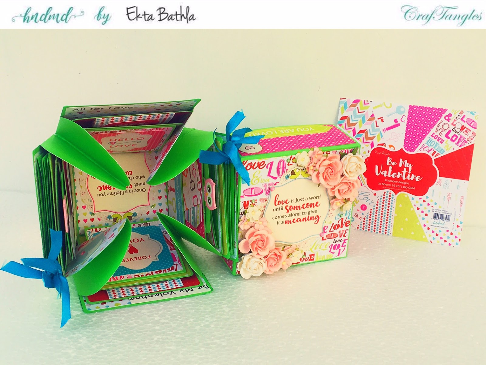 Love themed explosion box using CrafTangles Be My Valentine paper and element packs 12