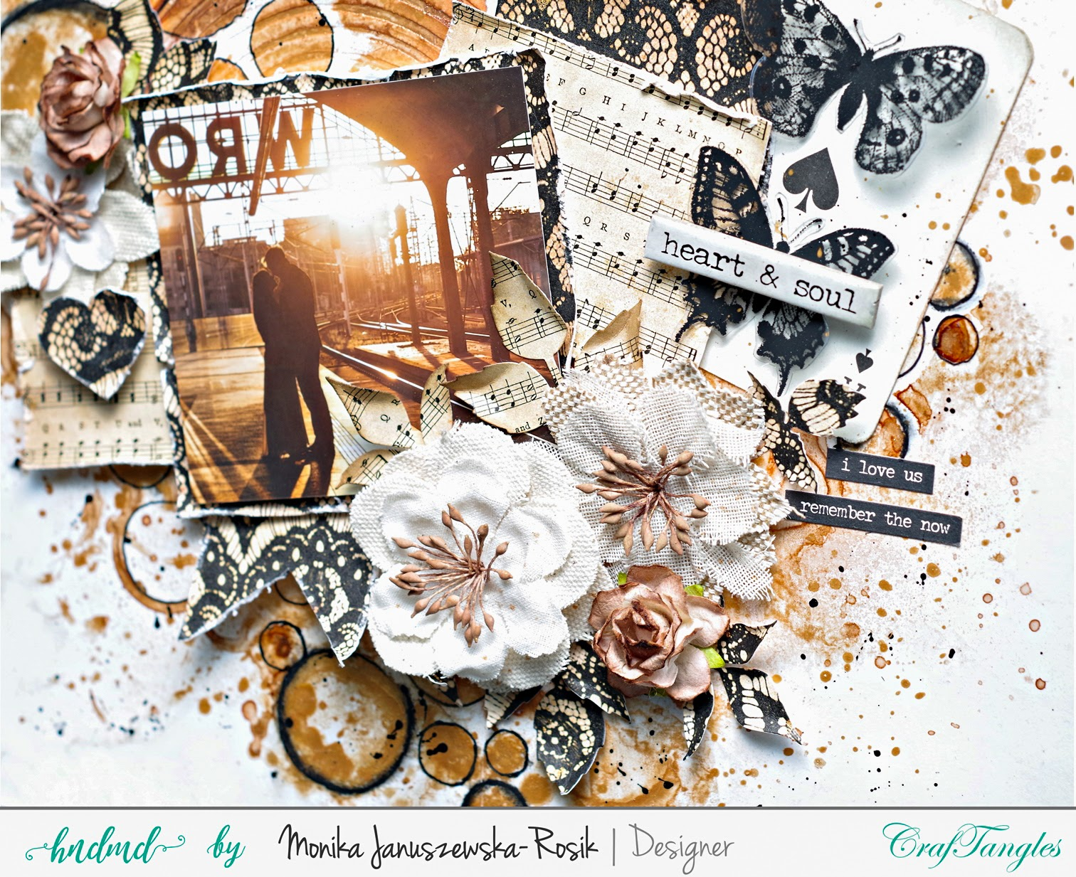 Mixed media Layout with CrafTangels stencils 4