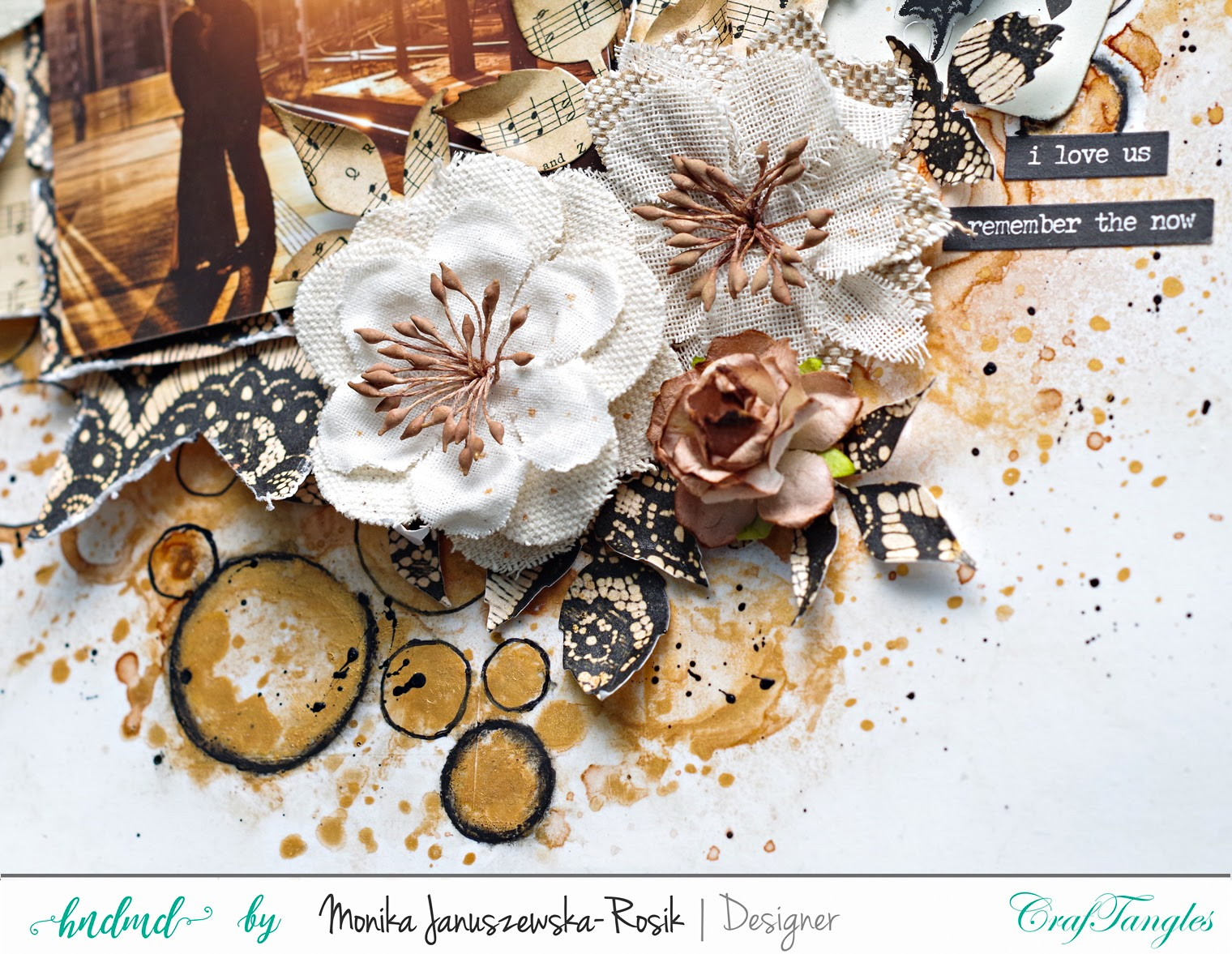 Mixed media Layout with CrafTangels stencils 3