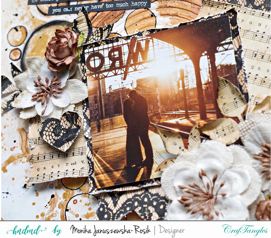 Mixed media Layout with CrafTangels stencils 2