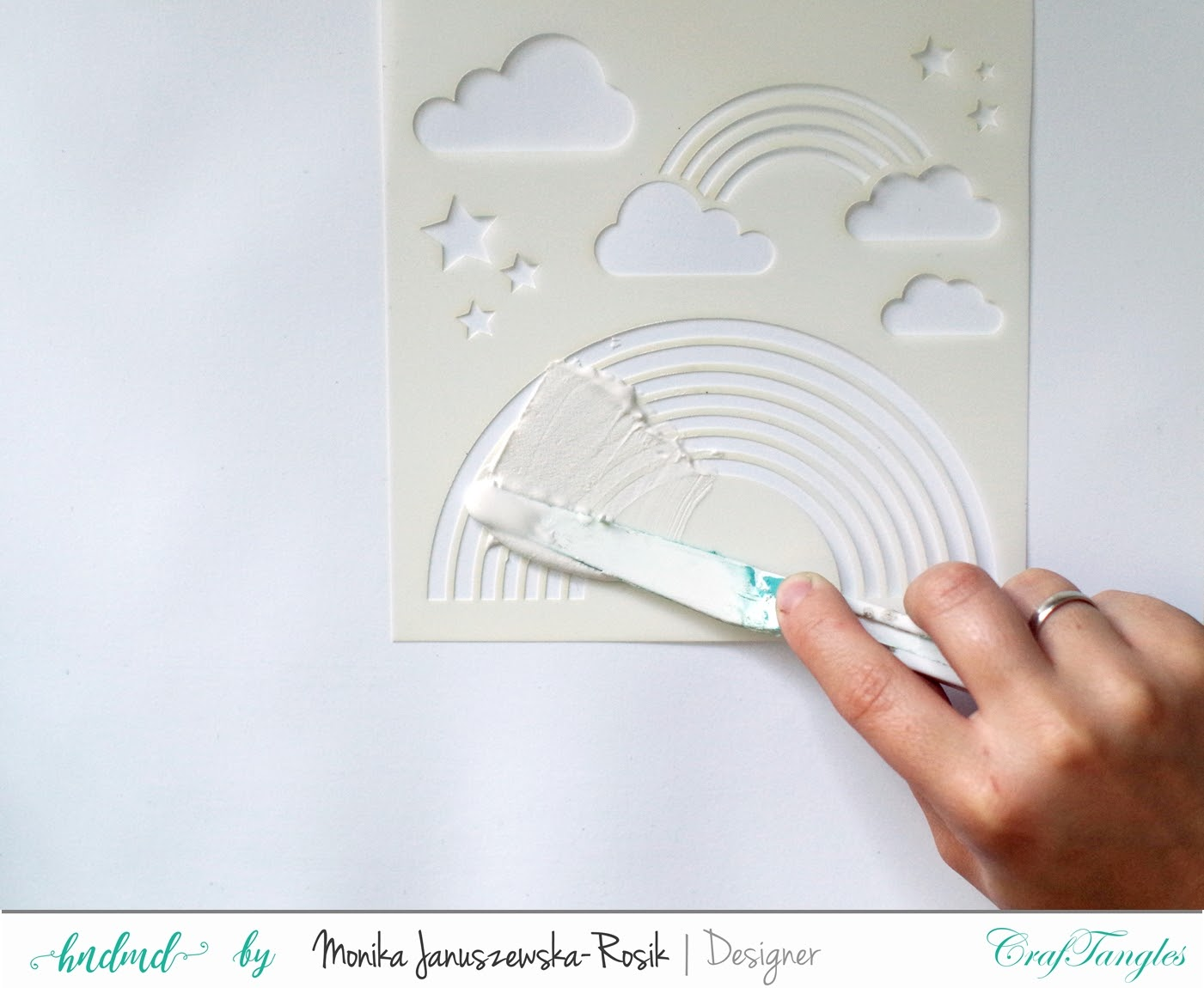 Mixed media Layout with CrafTangels stencils 6