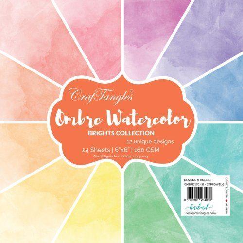 "CrafTangles Scrapbook Paper Pack - Ombre Watercolor - Brights (6""x6"")"