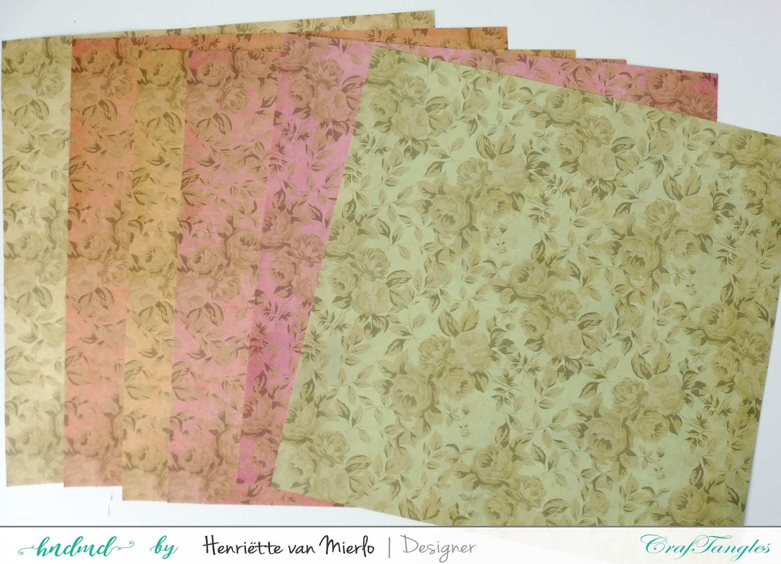 Vintage paper roses with Craftangles art sprays and patterned papers 2