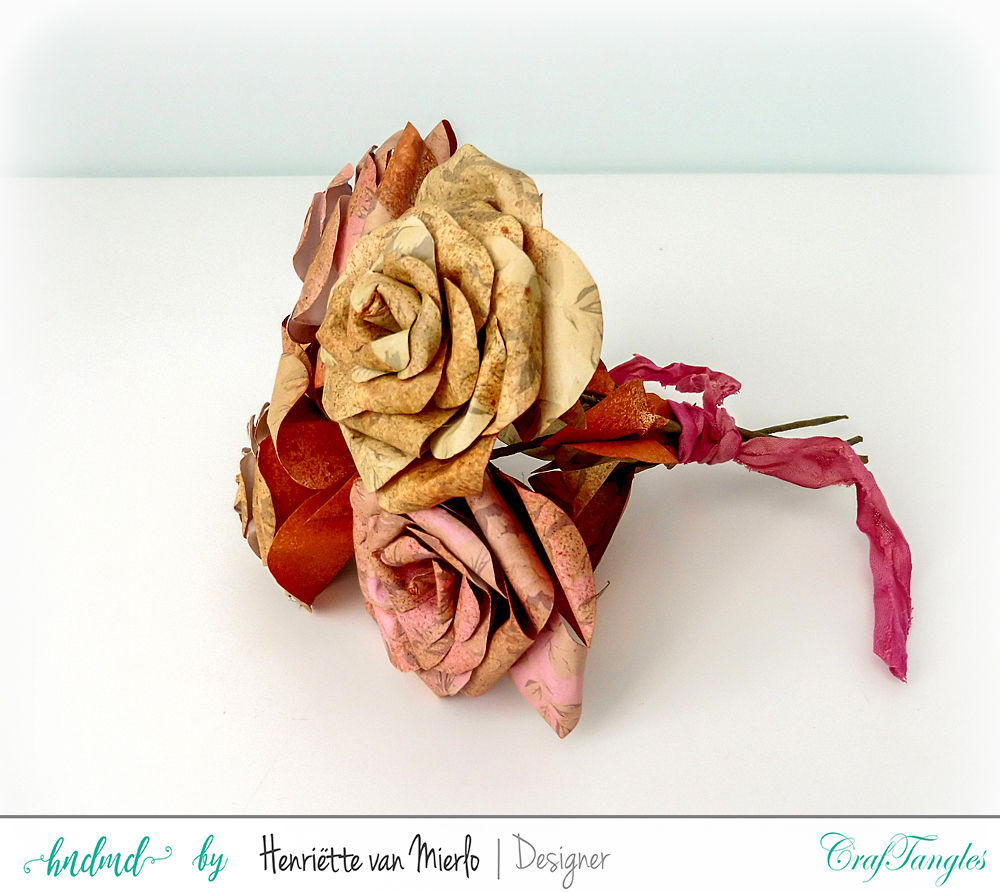 Vintage paper roses with Craftangles art sprays and patterned papers 5