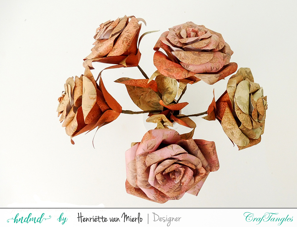 Vintage paper roses with Craftangles art sprays and patterned papers 1