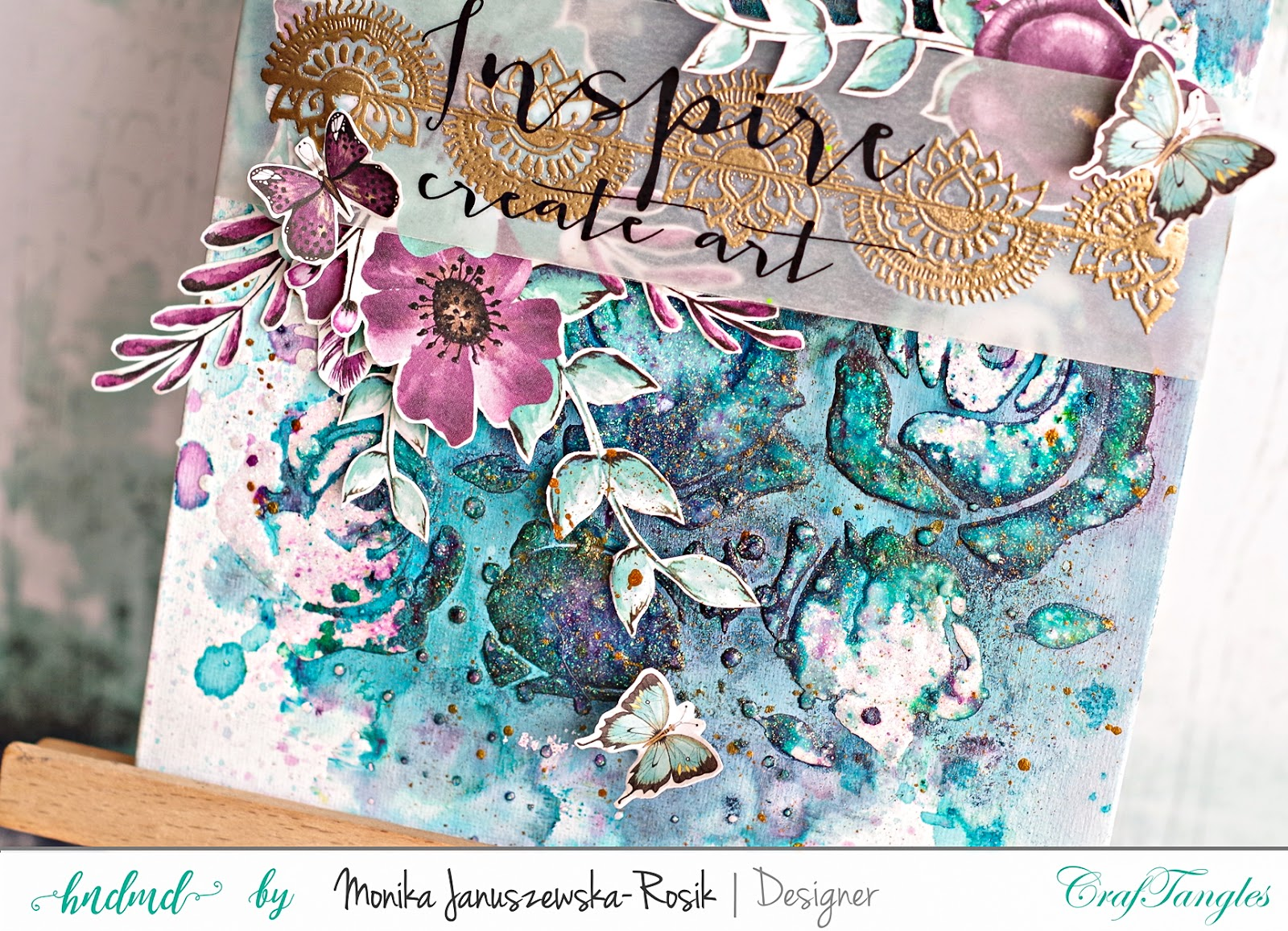 Mixed media background with CrafTangles stencils 5