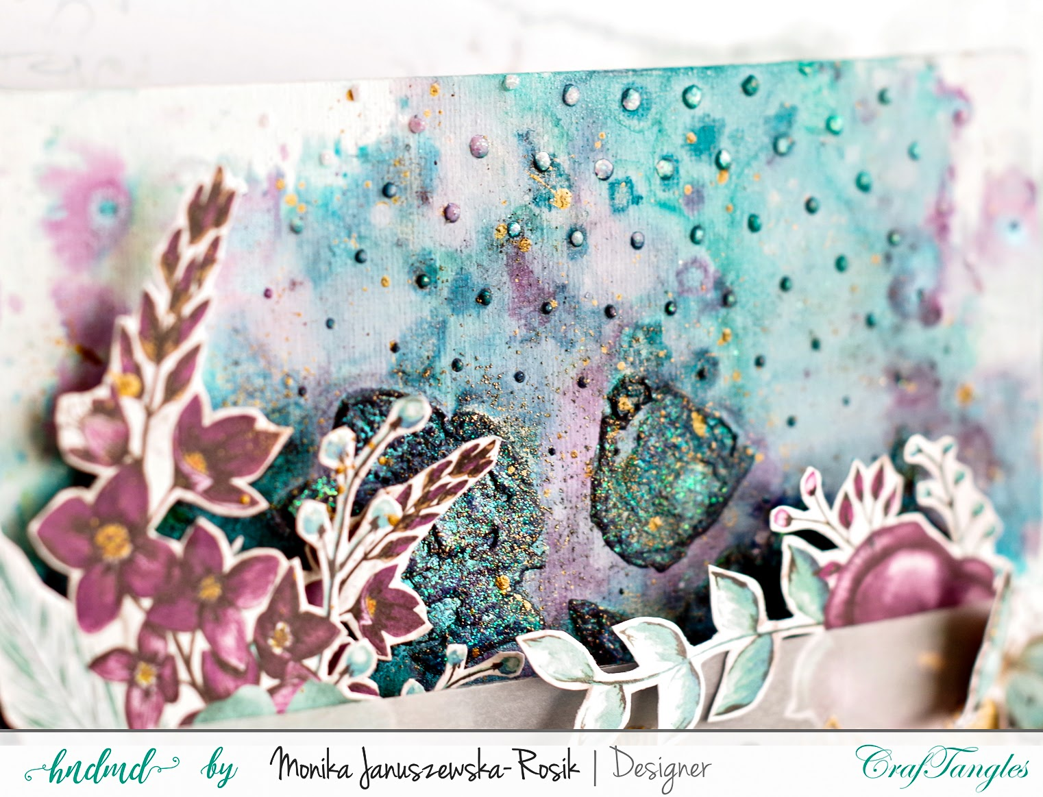 Mixed media background with CrafTangles stencils 3