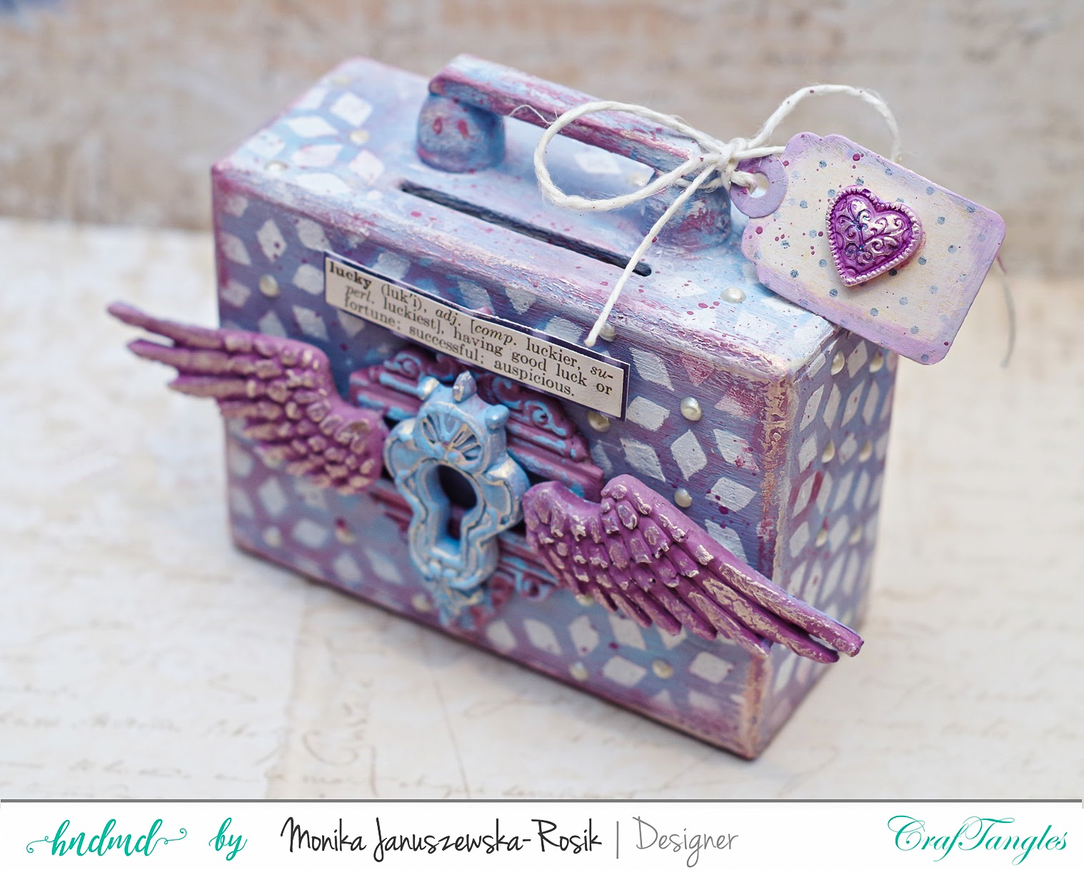 Altered moneybox painted with CrafTangles Chalky Paints 3