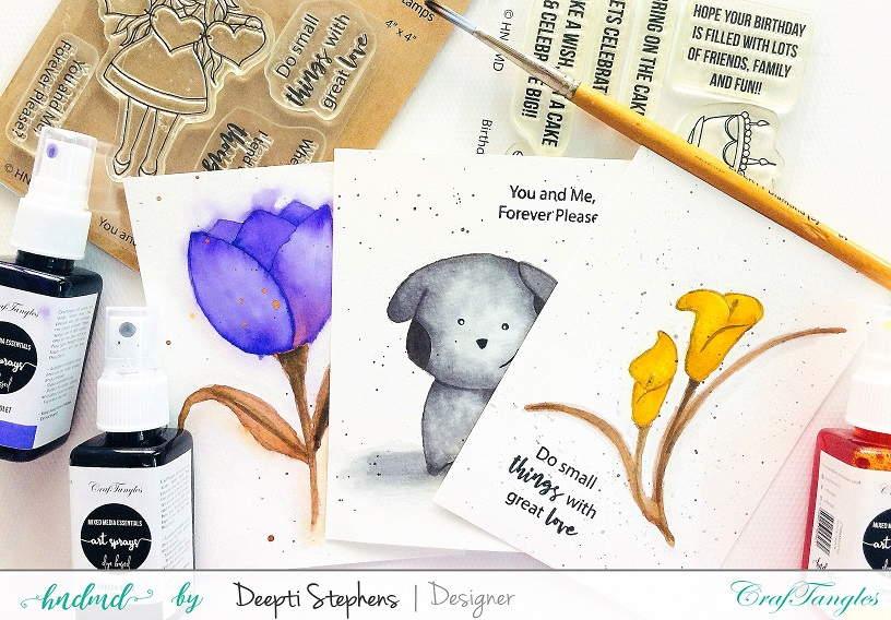 Water Color Cards with Art Sprays 1