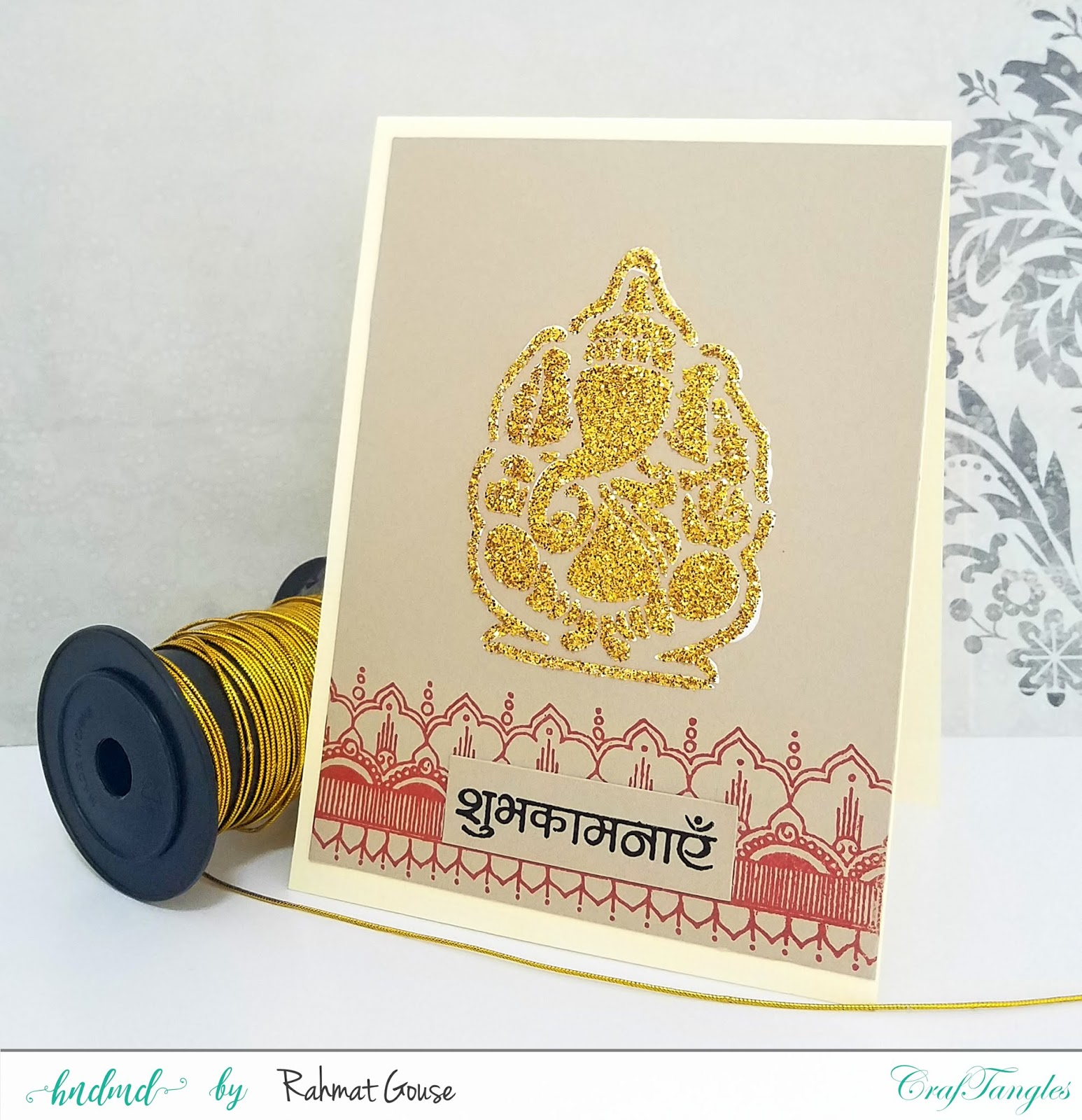 How to make Ganpati card using texture paste and glitter 1