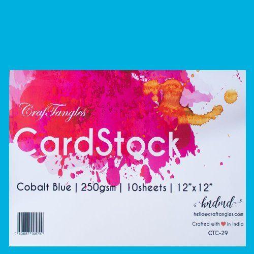 """CrafTangles cardstock 12"""" by 12"""" (250 gsm) (Set of 10 sheets) - Cobalt Blue"""