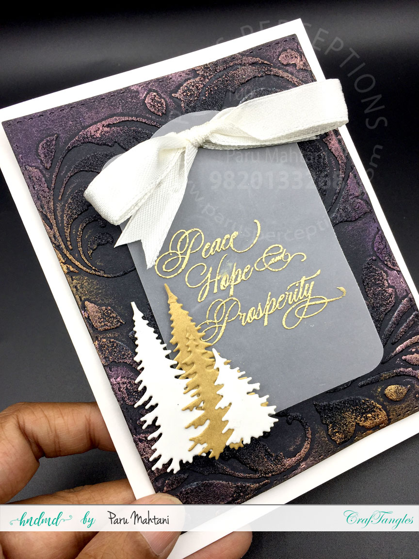 Christmas cards using textured backgrounds and art wax. 1