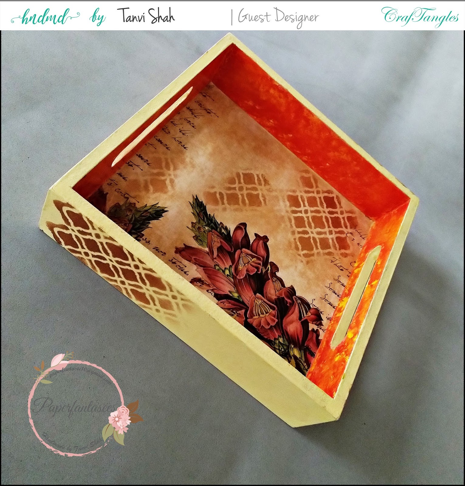Guest post by Tanvee using CrafTangles decoupage paper, Chalky Paint and Stencils 2