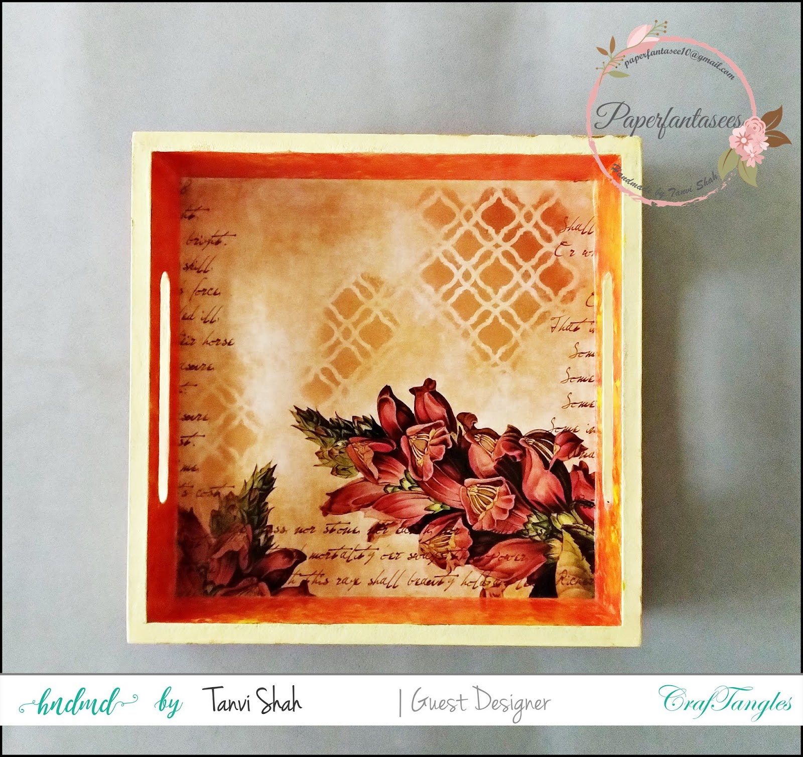 Guest post by Tanvee using CrafTangles decoupage paper, Chalky Paint and Stencils 3