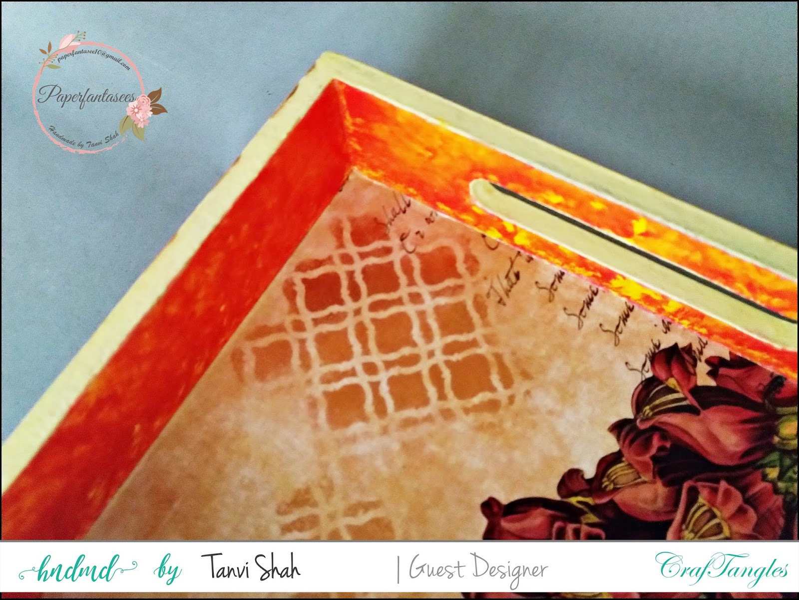 Guest post by Tanvee using CrafTangles decoupage paper, Chalky Paint and Stencils 4