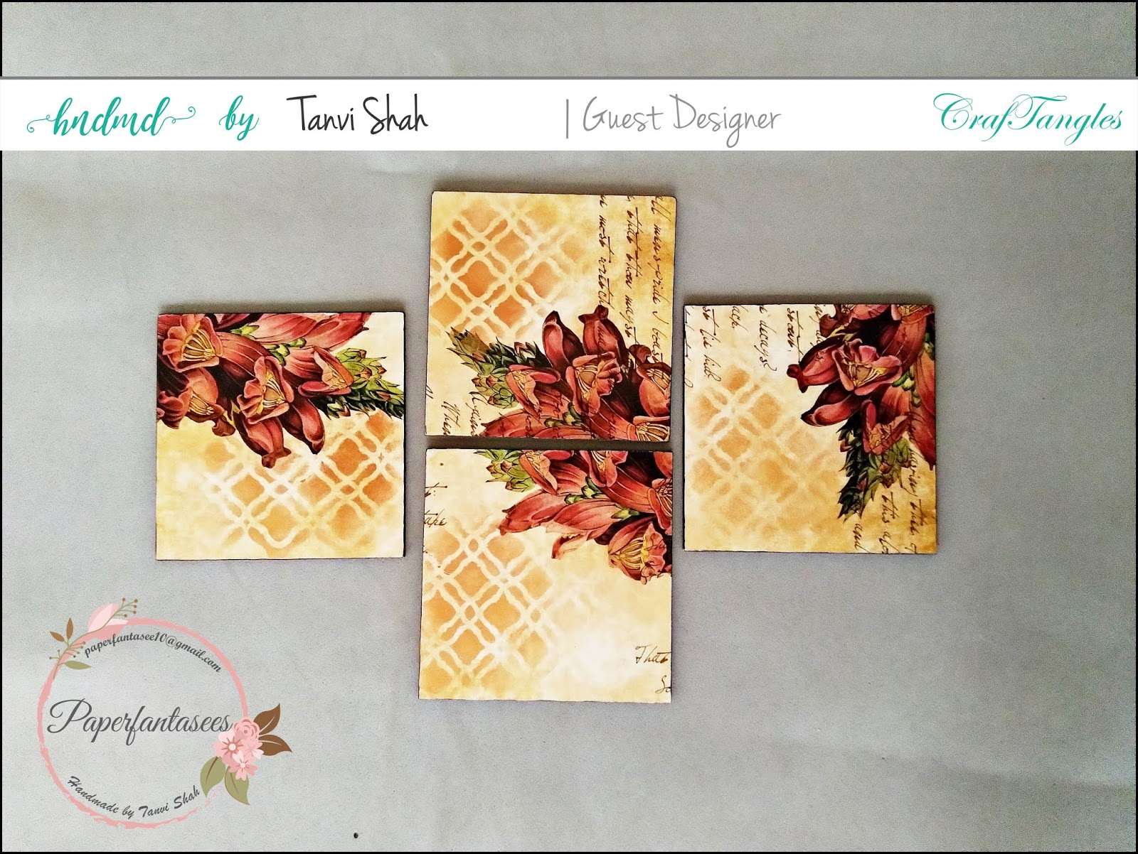 Guest post by Tanvee using CrafTangles decoupage paper, Chalky Paint and Stencils 5