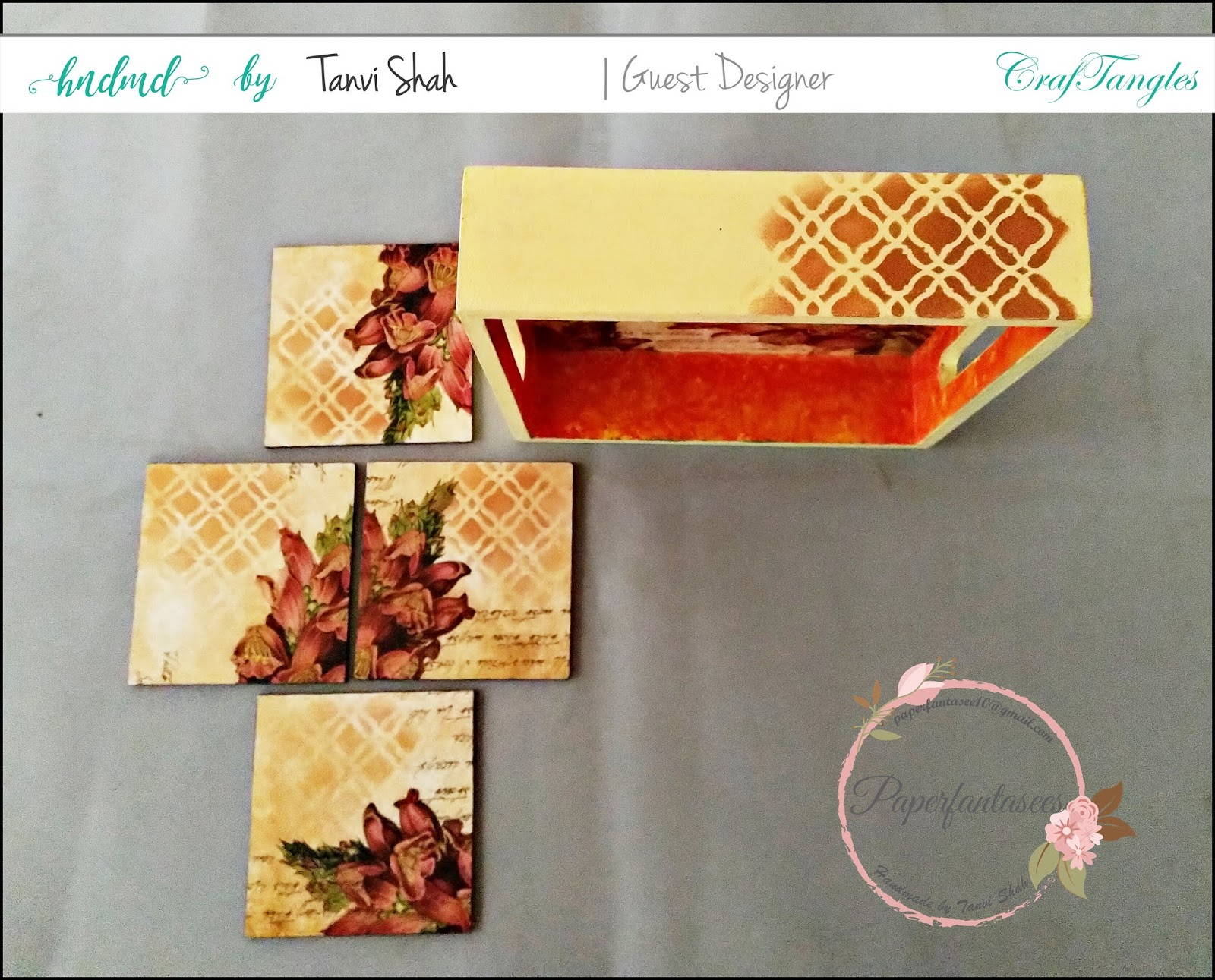 Guest post by Tanvee using CrafTangles decoupage paper, Chalky Paint and Stencils 6