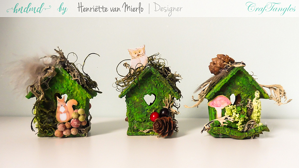 Birdhouses with moss effect paste 1
