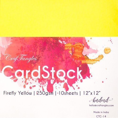"CrafTangles cardstock 12"" by 12"" (250 gsm) (Set of 10 sheets) - Firefly Yellow"