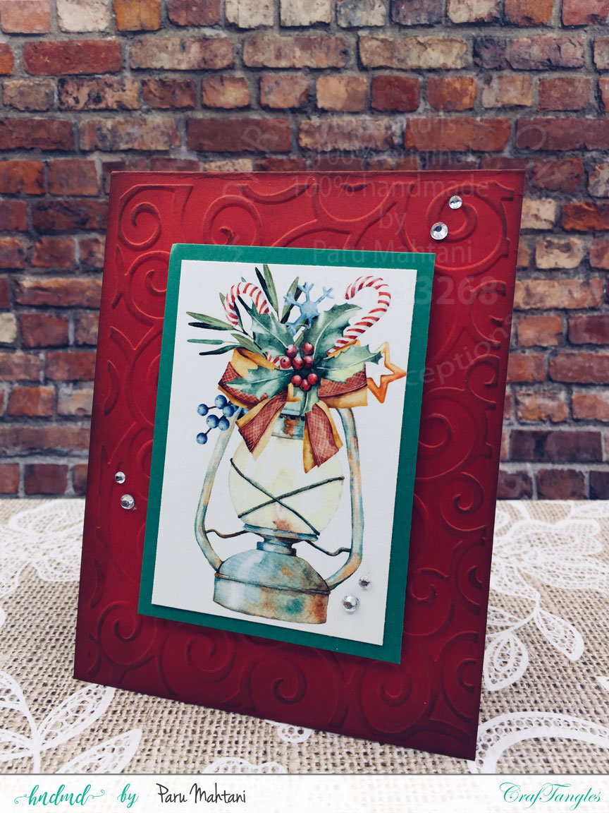 Christmas cards using patterned paper and Christmas elements pack. 6