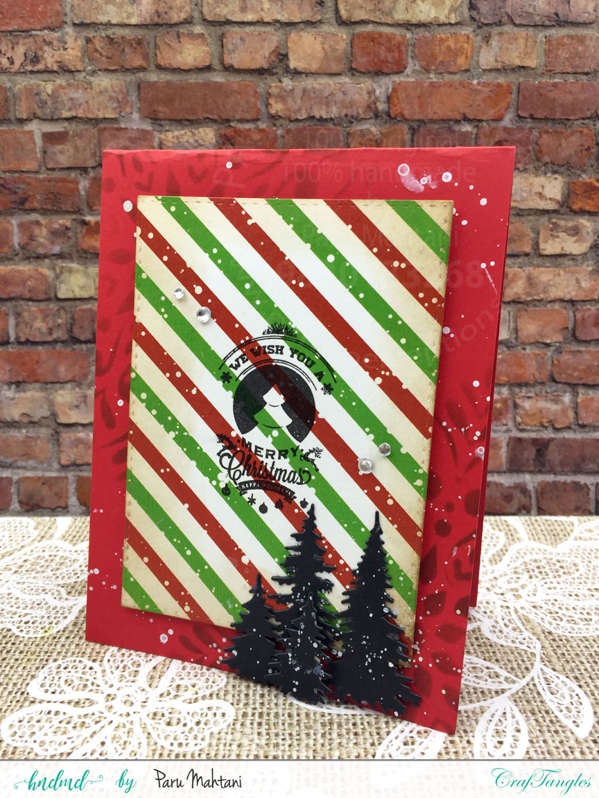 Christmas cards using patterned paper and Christmas elements pack. 10