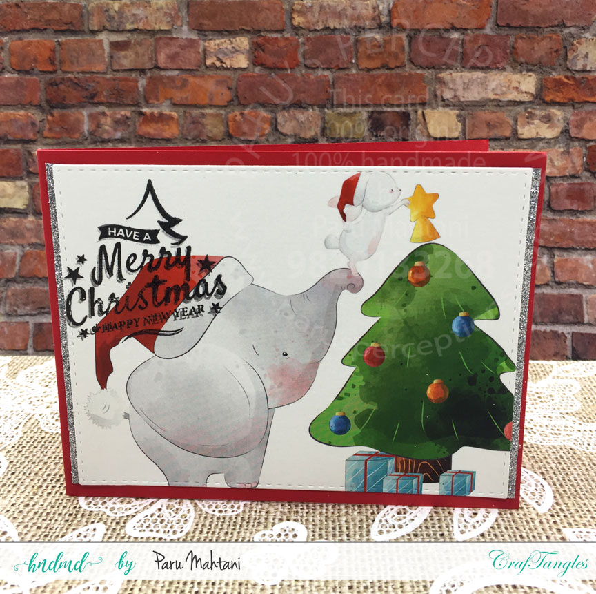 Christmas cards using patterned paper and Christmas elements pack. 12