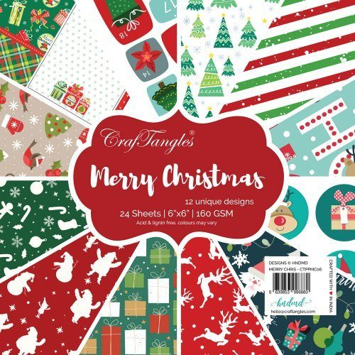 "CrafTangles Scrapbook Paper Pack - Merry Christmas (6""x6"")"