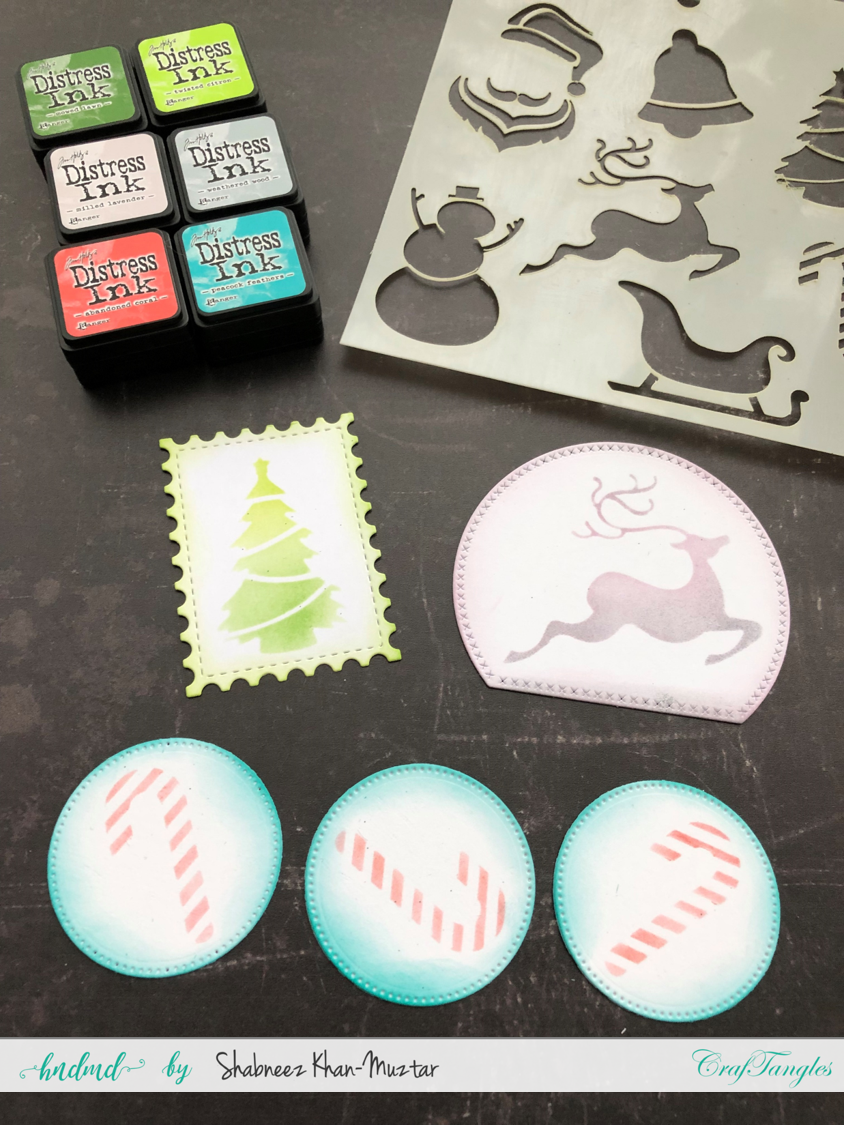 Using Stencils to Make Christmas Card Toppers 2