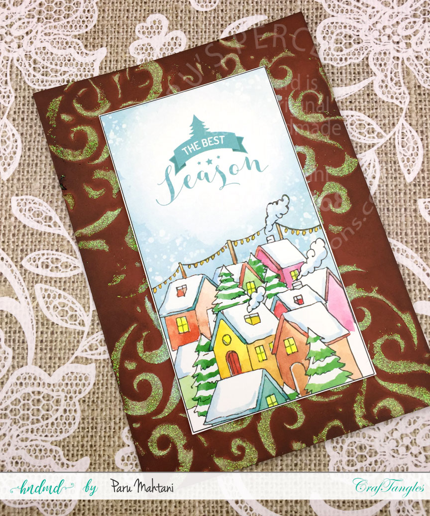 Christmas cards using patterned paper and Christmas elements pack. 3