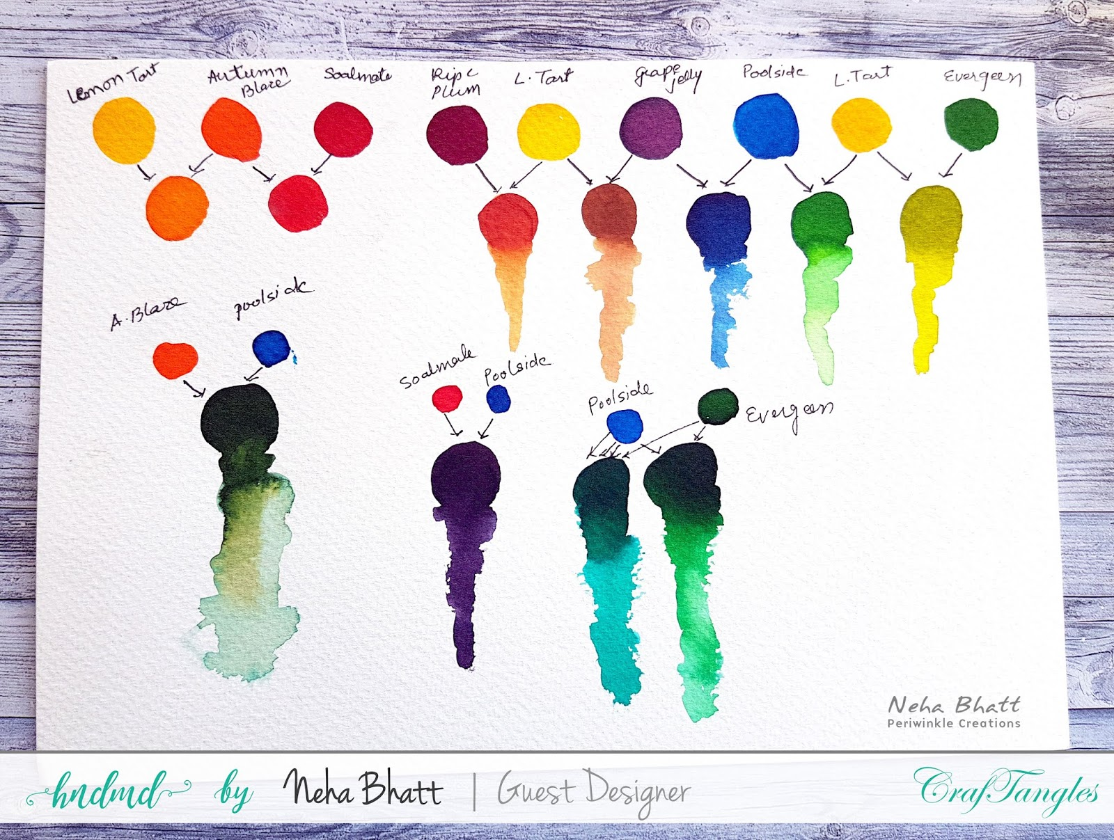 CrafTangles liquid Watercolors cards on watercolor and Yupo Paper by Neha Bhatt 2