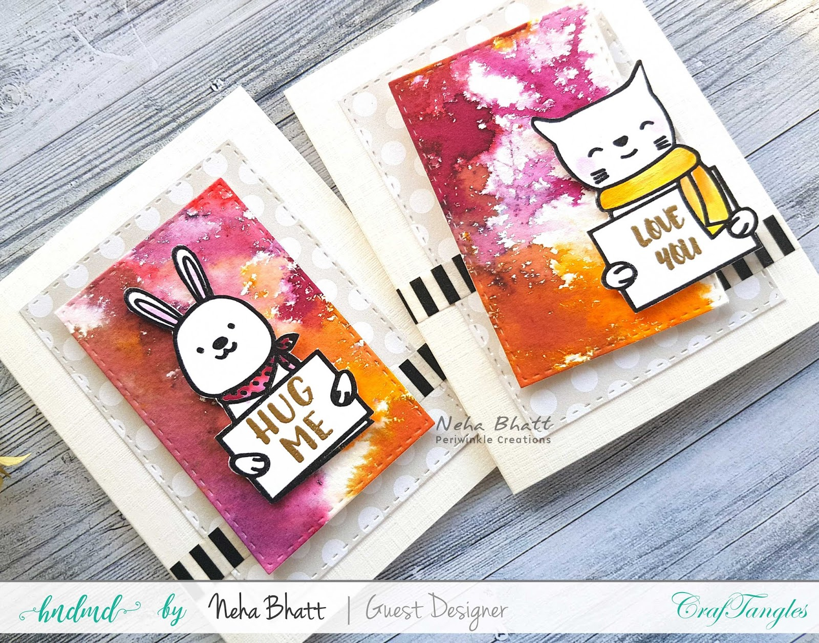 CrafTangles liquid Watercolors cards on watercolor and Yupo Paper by Neha Bhatt 8