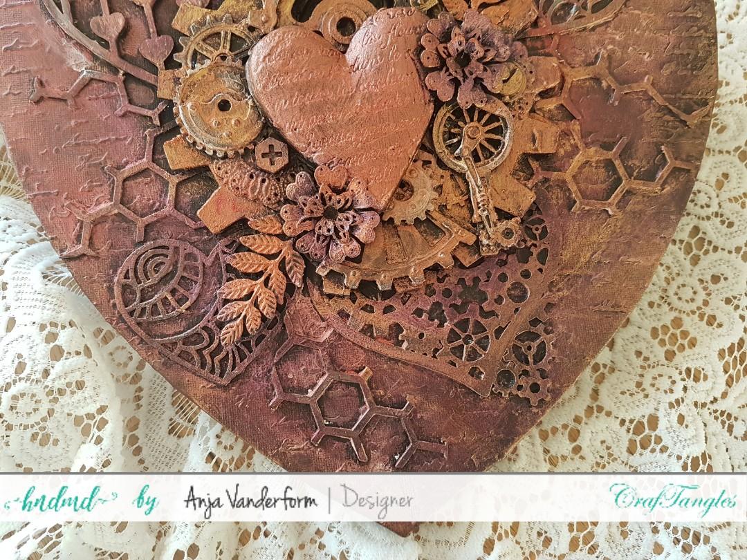 Mixed Media Heart, coloured with beautiful Craftangle waxes. 2
